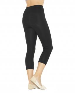 Capri 3/4 Damen Leggings Leggins Baumwolle Hose hoher Bund mit Taschen - Vorschau 5