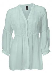B.C. Damen Bluse Stickerei 3/4 Arm Shirt Tunika mint Gr. 38 037109