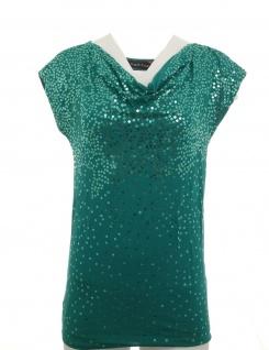 Melrose Damen Shirt Wasserfall Pailletten ärmellos Top smaragd Gr. 34 821692