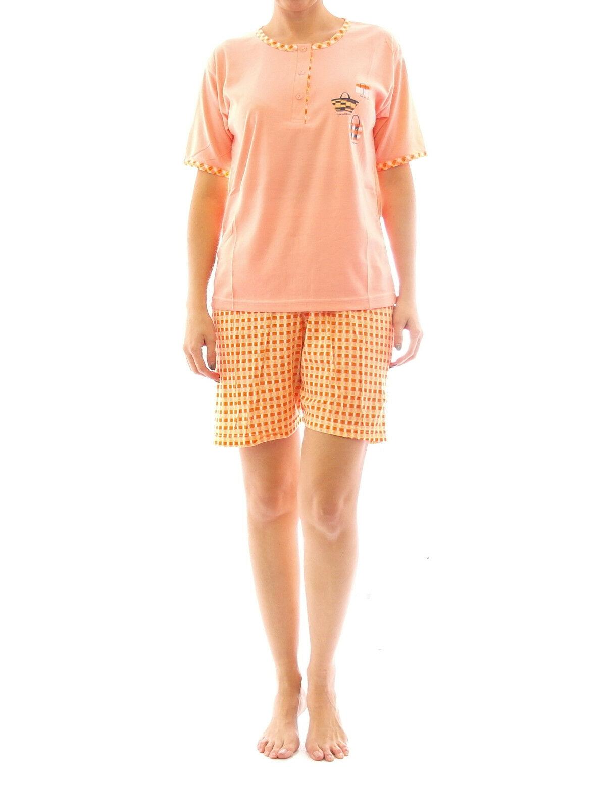 competitive price 17517 7378d Damen Pyjama Schlafanzug Top Shirt Kurzarm kurze Shorts Motiv Matysio