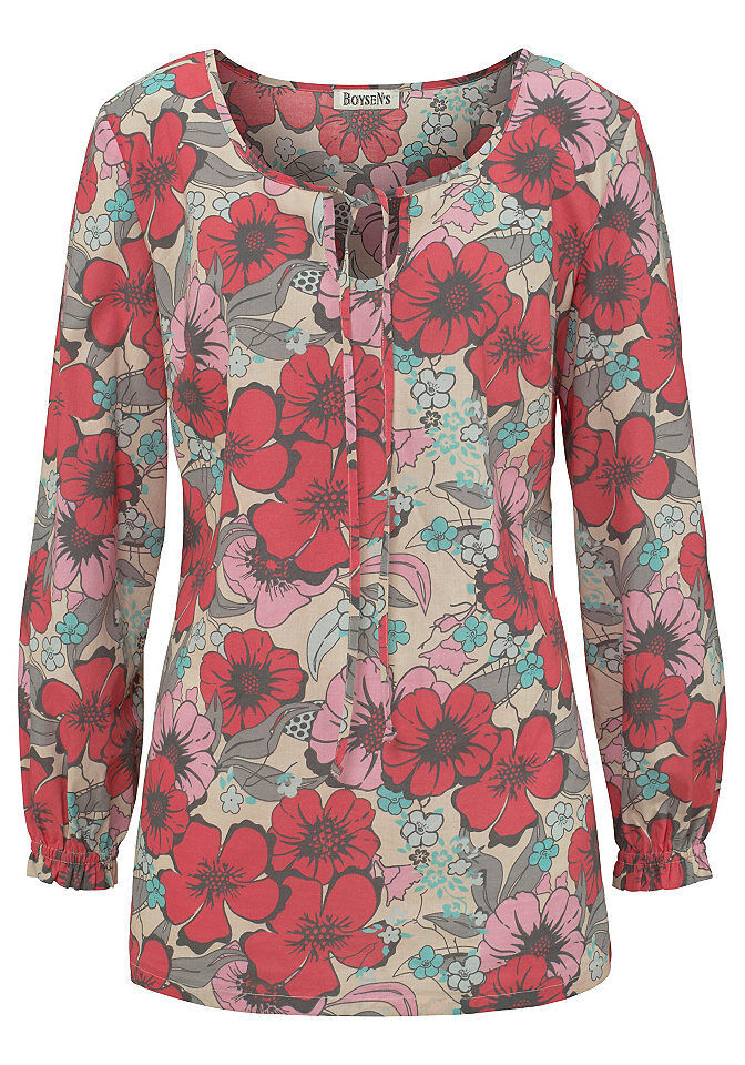 innovative design 3eb9c c650a Boysens Bluse Raffung Blumen Muster Druckbluse Langarm Tunika Shirt 695797