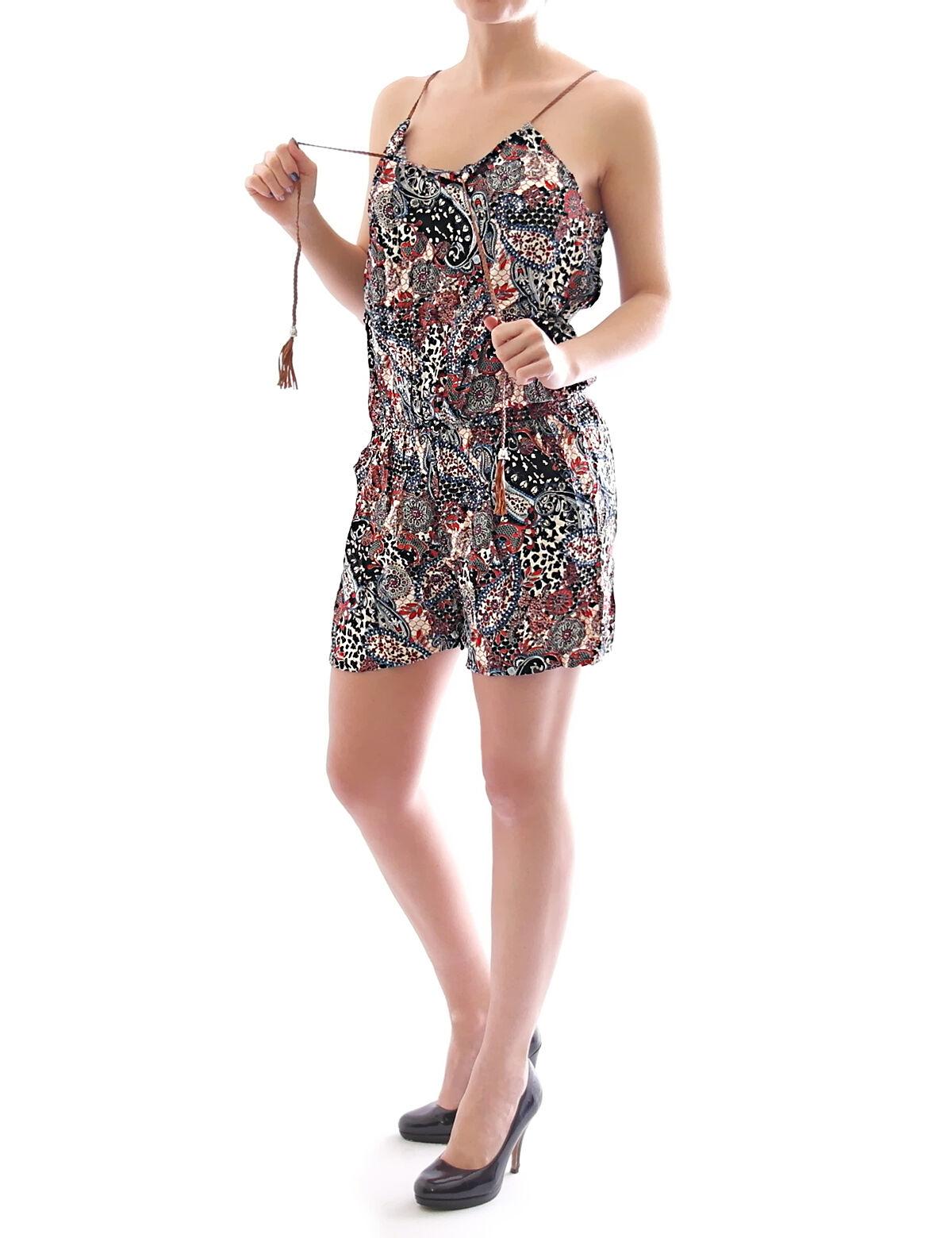 damen overall einteiler shorts kurze hose jumpsuit catsuit kleid mini a09
