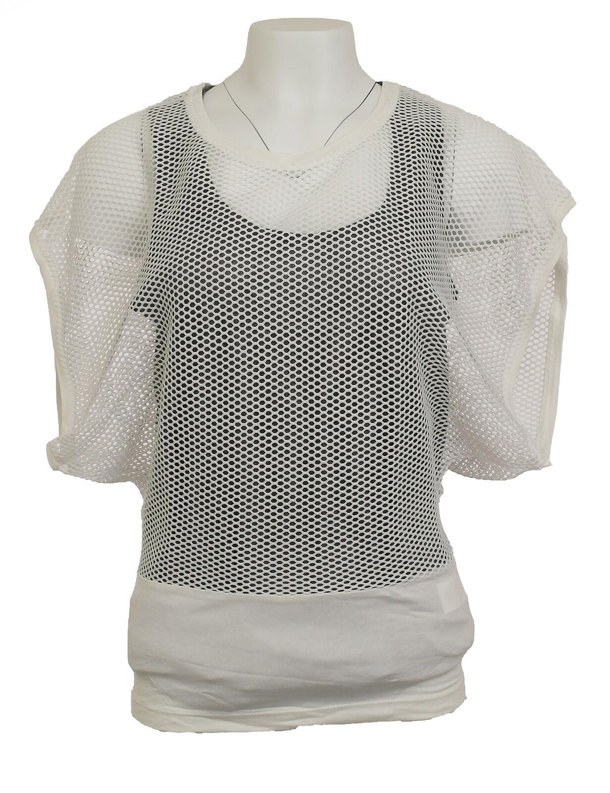 best website b6706 10960 Mandarin Damen Netzshirt Shirt Netz Häkel Lochmuster Top Tunika ecru 033681