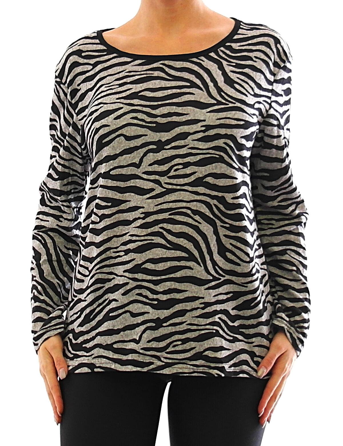 official photos 13433 301e0 Damen Langarm Shirt Pullover Tiger Muster Bluse Stretch Tunika T-Shirt 351