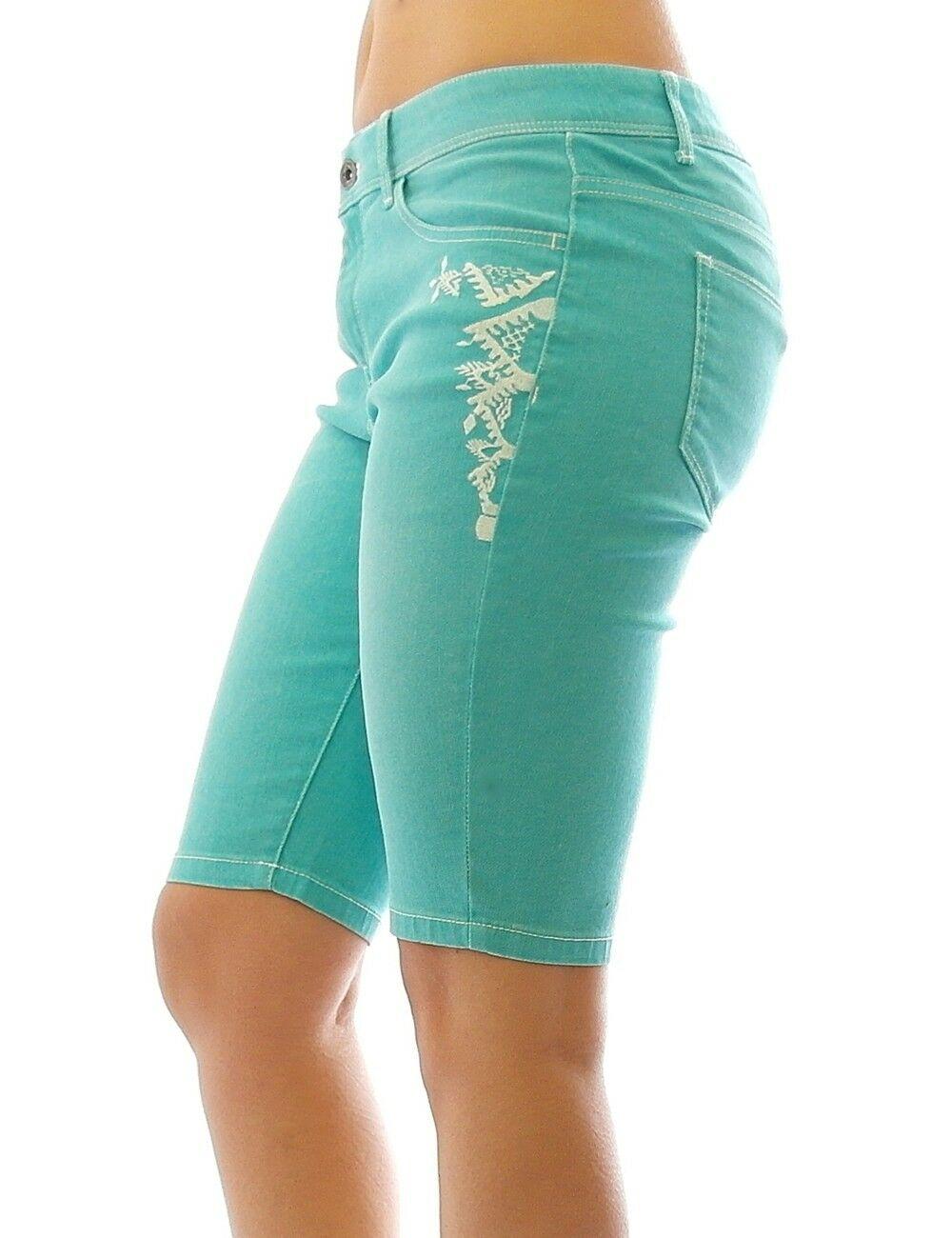 rainbow damen jeans bermuda stickerei kurze hose shorts stretch aqua 923057 kaufen bei yesetshop. Black Bedroom Furniture Sets. Home Design Ideas