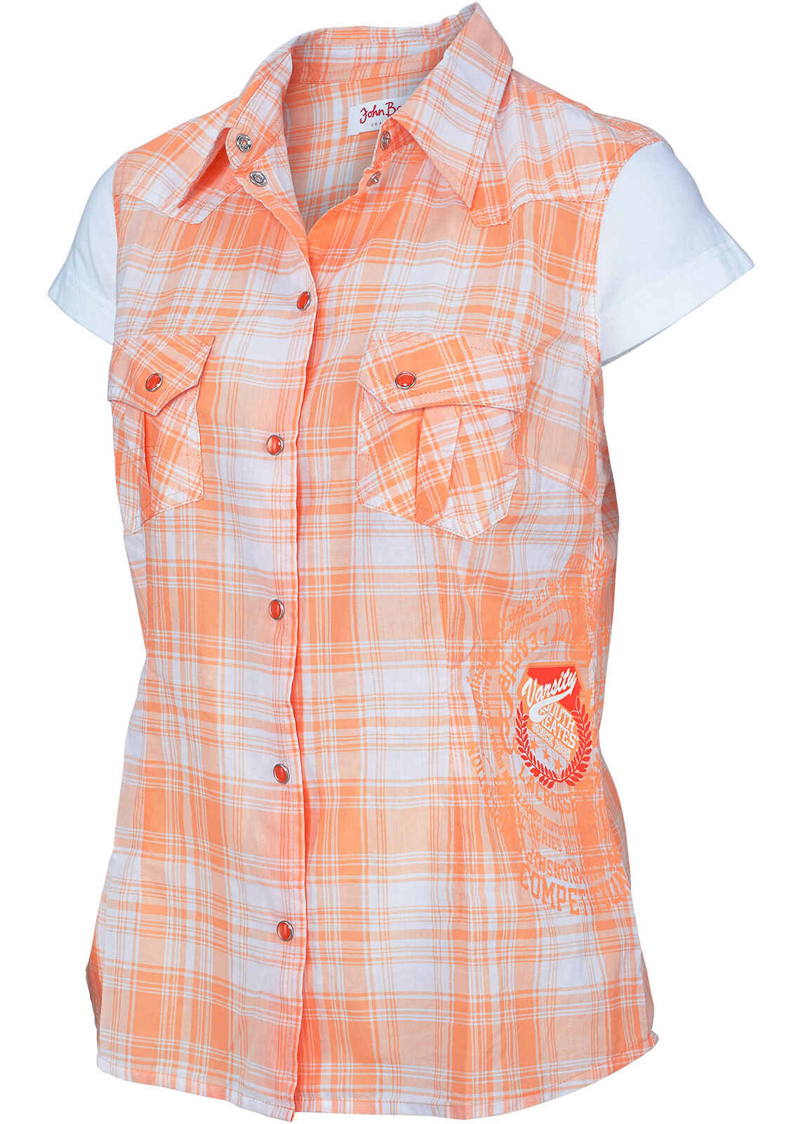 best service a12fb 14859 Damen Karo Hemd Apricose Bluse ohne Arm T- Shirt Tunika Top 951754