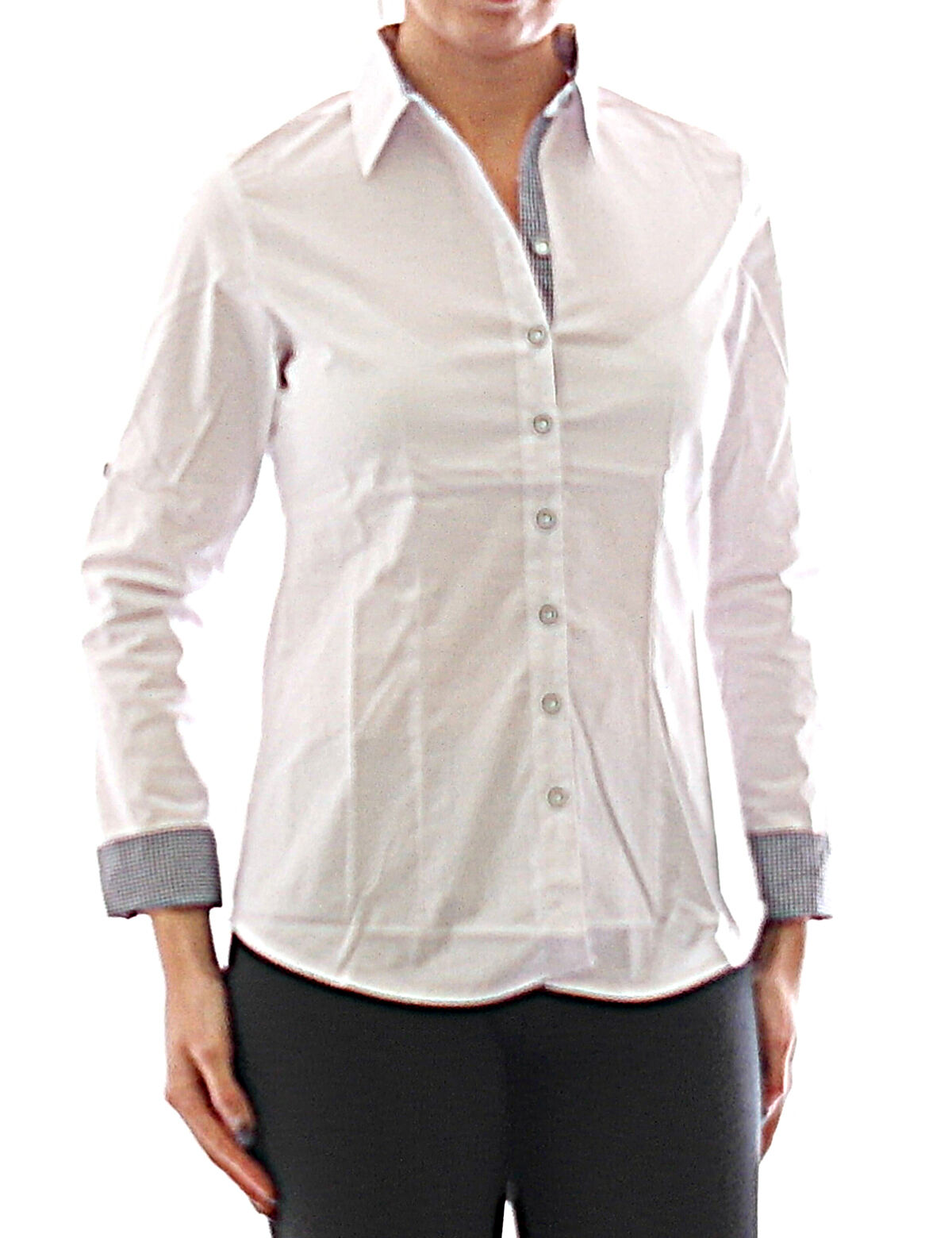lowest price 3aa7d ec014 Damen Bluse Hemd Langarm Shirt Tunika Business Weiß Baumwolle 349