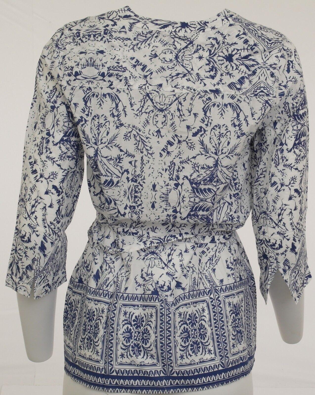 more photos d4d14 b0fa7 Damen Bluse Shirt Hemd 3/4 Arm Tunika Top T-Shirt gemustert blau-weiss  085020