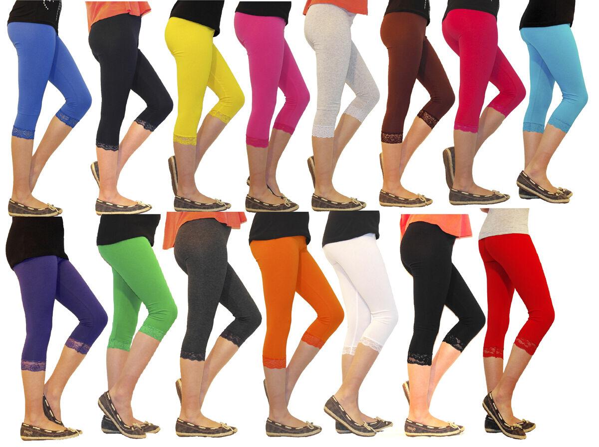 8fe3dd846d6b5a Mädchen Kinder Leggings Leggins Capri 3/4 kurz mit Spitze kurze Hose  Baumwolle 1 ...