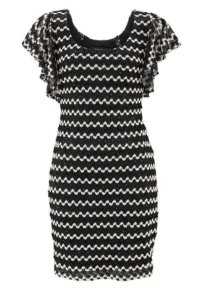 67902c4f59f303 ... Siena Studio Kleid Zickzack-Muster Pailletten Cocktailkleid schwarz  weiß 896926 5