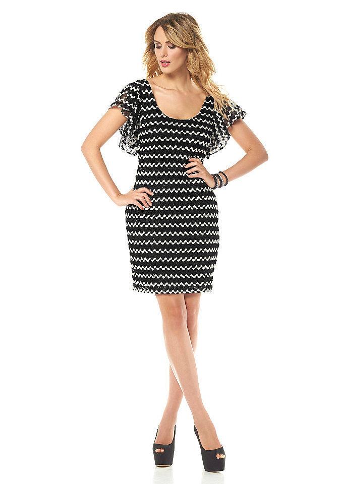 bd0c1e2af8b7b0 Siena Studio Kleid Zickzack-Muster Pailletten Cocktailkleid schwarz weiß  896926 1 ...
