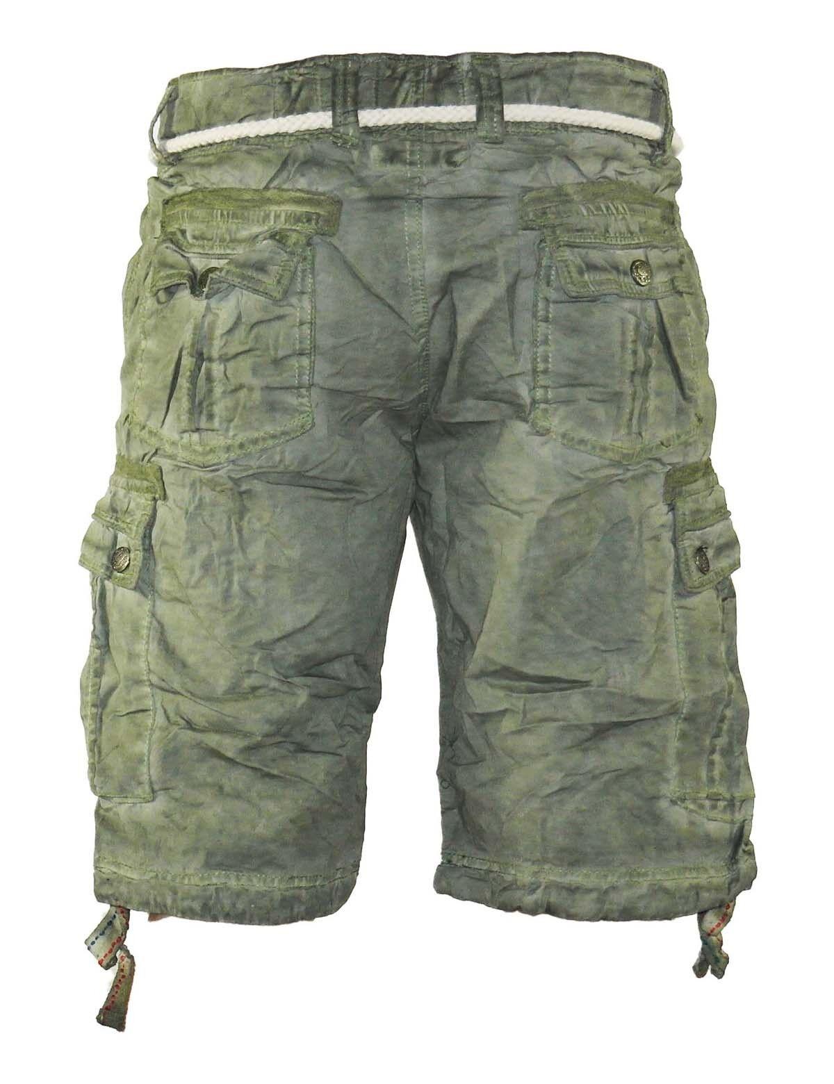 dcd1b767c354ba ... Herren Jeans kurze Hose lange Cargo Shorts Bermuda Caprihose mit Gürtel  8835 2 ...