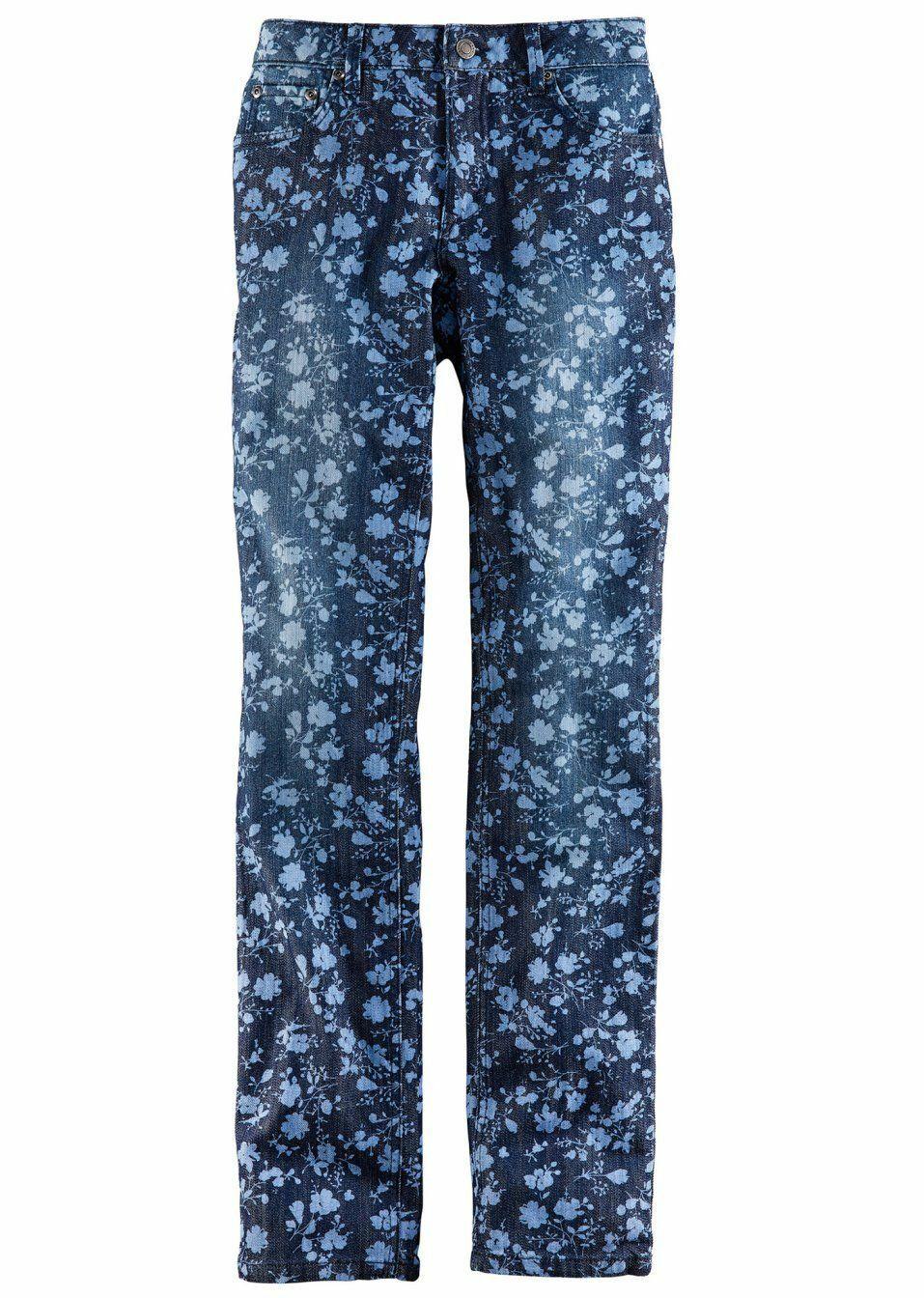John Baner Damen Stretch Jeans Hose Blumen Muster Chino blau 950379
