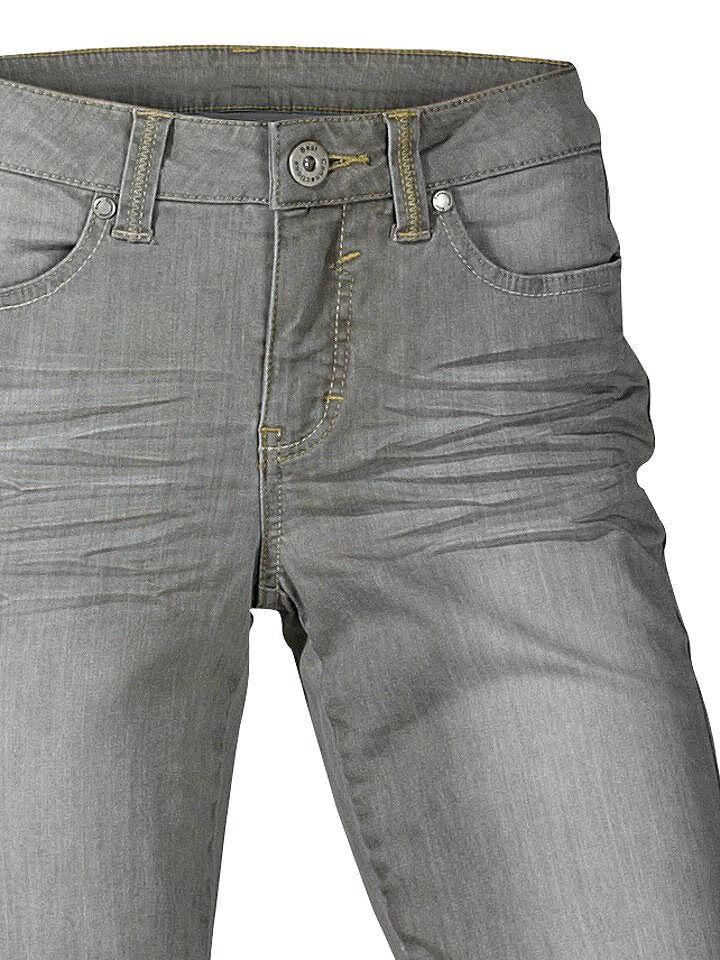 B.C. Damen Röhrenjeans Hose Jeans Stretch Chino Grey Denim Gr. 34 101286