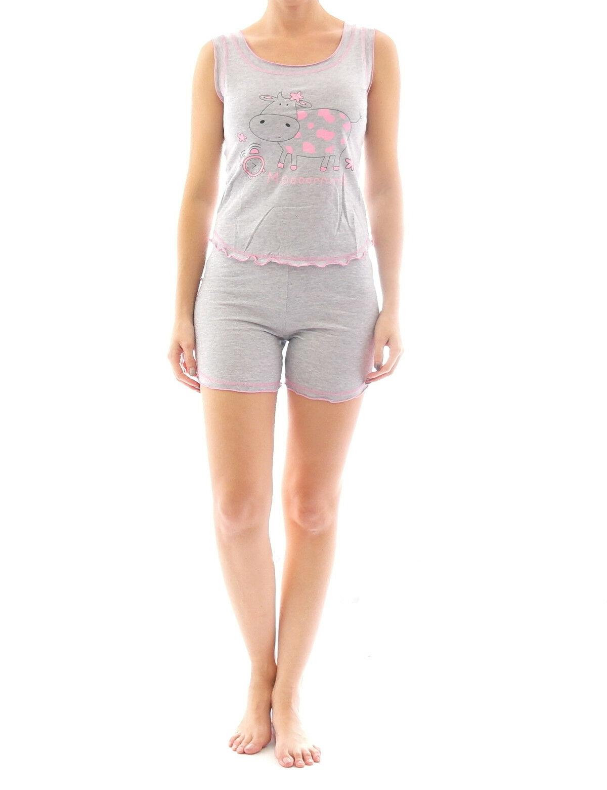 finest selection 610fb dec94 Damen Pyjama Schlafanzug Top Shirt Kurzarm kurze Shorts Motiv Grau Pink