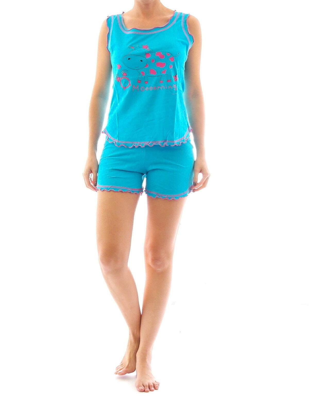 brand new 62d4b f2969 Damen Pyjama Schlafanzug Top Shirt Kurzarm kurze Shorts Motiv 5184