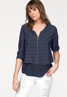 AJC Damen Bluse 3/4 Arm Reißverschluss Streifen Shirt Tunika blau 274739