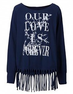 Rainbow Damen T-Shirt Pullover Oversize Fransen Langarm dunkelblau 903919