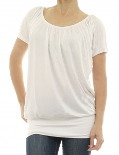 Heine Damen Carmenshirt Shirt kurzarm Bluse Tunika weiss 34 026934