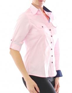 Damen Bluse Hemd Langarm Shirt Business Rosa Baumwolle 299 - Vorschau 1