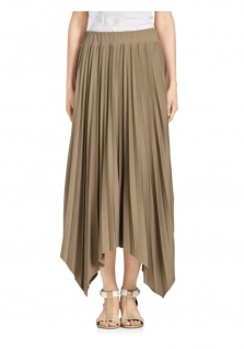B.C. Damen Plissee-Rock Maxirock Maxi Falten Skirt taupe 011874