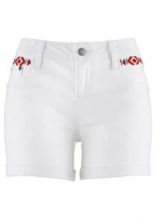 John Baner Damen Shorts Hot Pants kurze Hose Bermuda Stickerei weiss 950073