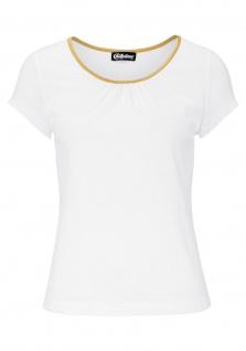 Chillytime Damen Shirt Goldpaspel kurzarm Bluse Tunika weiss 764213