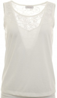 Aniston Damen Top Tank Spitze Tanktop Shirt Tunika Bluse cremeweiß Gr. 34 364632