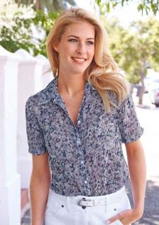 Corley Damen Sommer-Bluse Shirt Hemd Kurzarm Blumen helllila Gr. 34 231871