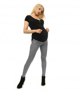 Umstand Hose Leggings lang Bauch gekämmte Baumwolle Muster-2-Fein-Meliert