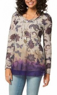 Boysens Meshtunika Tunika Bluse Blumen langarm Shirt lila-weiss Gr. 34 813298