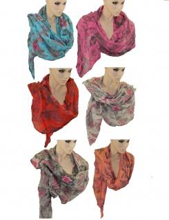 Schal Tuch Blumen Muster Halstuch Rundschal Seide Baumwolle 2m lang Umhängetuch