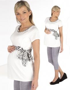 Umstandsshirt Longshirt Shirt Umstand Kurzarm Top Tunika Schleifen Camilla