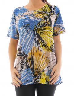 Damen Shirt Stretch T-Shirt Tunika Tank Top Bluse Damentop Streifen Muster F73