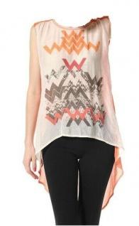 Material Girl Damen Bluse Tunika Shirt Print ärmellos orange Gr. 34 125306