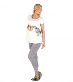 Umstand Hose Leggings lang Bauch gekämmte Baumwolle Muster-9-Hellgrau