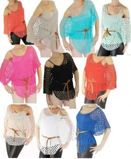 T-Shirt Netz Fledermaus Poncho Bluse Spaghettiträger TOP 3-Tlg SET Gr XS-S-M