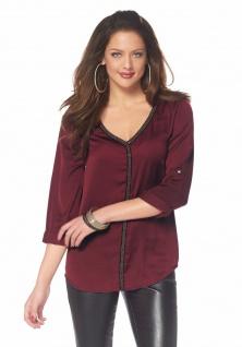 Melrose Damen Bluse Perlenband langarm Shirt Tunika bordeaux 375753