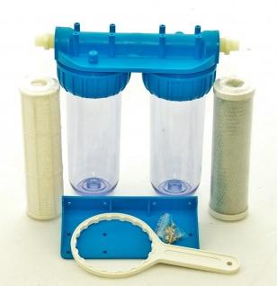 2 Stufen Hausfilter Wasser Carbon Kohlen Pumpen-Filter Vorfilter Anschluss 1/2