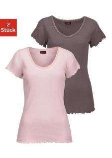 H.I.S Damen Shirt Doppelpack kurzarm Spitze Tunika Bluse pink braun 892845
