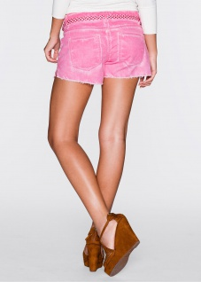 Rainbow Shorts Hot Pants kurze Hose Bermuda Fransen Bindegürtel pink 34 938716 - Vorschau 3