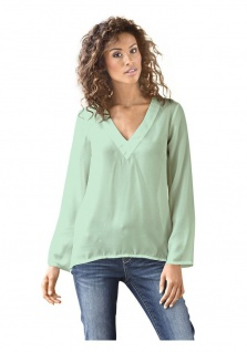 B.C. Damen Schlupfbluse Bluse Shirt langarm Tunika blau Gr. 38 130841