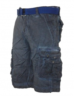 Herren kurze Hose Jeans lange Shorts Bermuda Cargo Caprihose mit Gürtel XH-22817