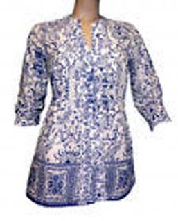 Damen Bluse Shirt Hemd 3/4 Arm Tunika Top T-Shirt gemustert blau-weiss 085020