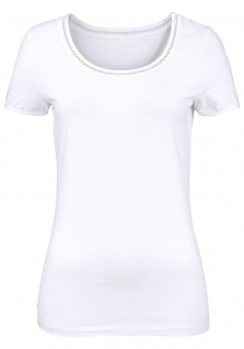 Cheer Damen T-Shirt Hohlsaum kurzarm Shirt Bluse Tunika weiss 505337