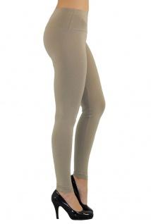 Damen Leggings lang hoher Bund verstärkt Hose blickdicht Baumwolle Leggins - Vorschau 4