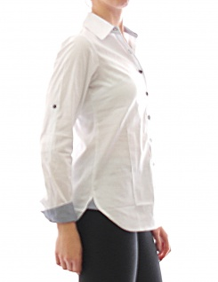 Damen Bluse Hemd Langarm Shirt Tunika Business Weiss Baumwolle 273 - Vorschau 2