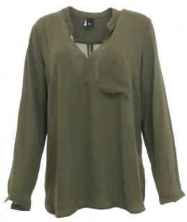 B.C. Damen Schlupfbluse Bluse langarm Chiffon Shirt Tunika oliv 011564
