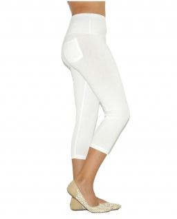 Capri 3/4 Damen Leggings Leggins Baumwolle Hose hoher Bund mit Taschen - Vorschau 2