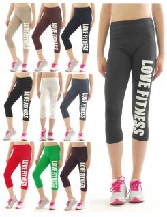 Capri Leggings 3/4 Baumwolle LOVE Fitness Sport Yoga